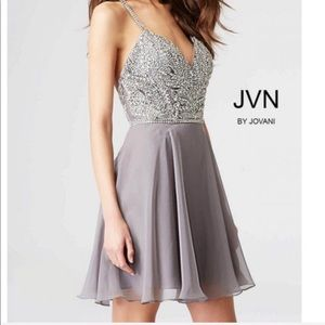 Jovani grey sparkly homecoming formal dress